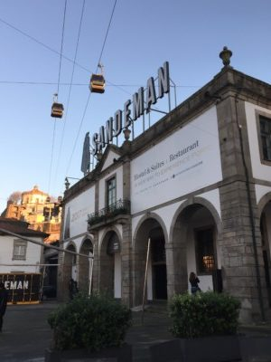 A picture of the cable car in Porto over the top of the Sandeman's port cellars in Gaia