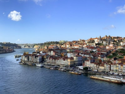 Looking out at Porto across the Douro river from the bridge.  You can see the buildings of Rebeira on the other side of the river