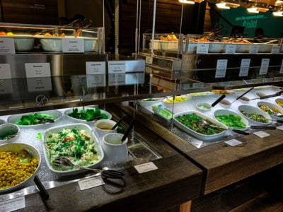 An image of some of the buffet we could choose from for our brunch in Zurich.  Here you can see lots of green salads.  There is a lower and upper shelf of food.