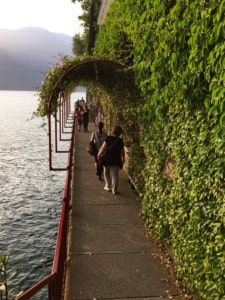The walkway in Varenna around the side of the lake.  It is covered in vegetation with a red railing