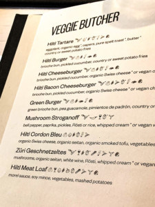 "The ""veggie butcher"" page of the menu so you can see what is available - this includes burgers and meat loaf"