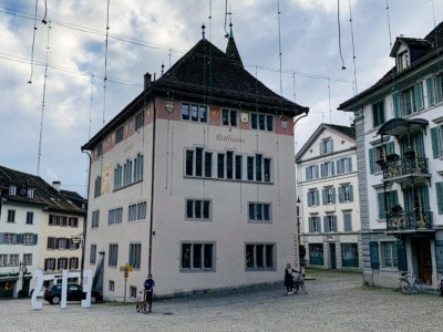 Rapperswil's Rathaus (town hall).  This is a square building standing detached in the main square.