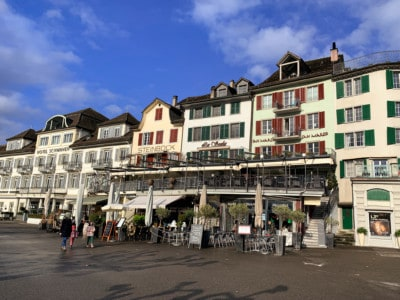 Bars and restaurants along the promenade on the lake in Rapperswil.  You can see some of the outdoor seating here.