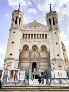 The Basilique Notre Dame de Fourrière.  This is front shot.  You can see two of the towers with their crosses on the top.