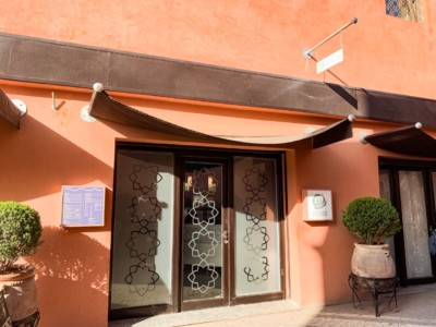 The pink outside and glass doors of the Hammam De La Rose, one of many Marrakech hammams you can visit