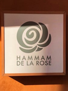 The sign for the Hammam De La Rose, one of many Marrakech hammams you can visit.