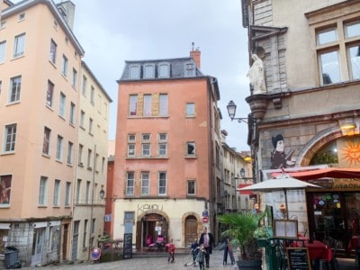 Part of Vieux Lyon.  You see the old buildings and a cafe/restaurant on the corner.