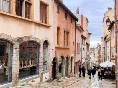 The street with the steps where you can start climbing to Croix Rousse