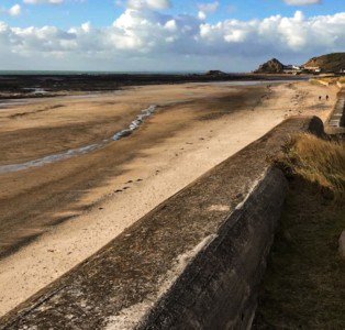 Part of the Atlantic wall lining the beaches in Jersey.