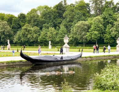 A gondola on the canal in the grounds of Nymphemburg Palace