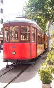The tram that you use for the second leg of the Orange Express Majorca train journey - this is red with brown sides.