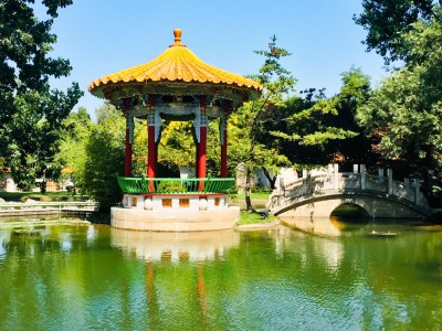 A small colourful Chinese temples on a river in the Chinese Park in Zurich.  It has a yellow roof.  There is a small bridge to the right with trees in the background