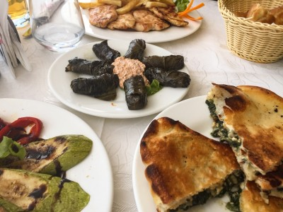 Some Albanian food that we tried on our day trips from Tirana - chicken steaks, stuffed vine leaves with dip in the middle, slices of spinach pie and grilled vegetables.