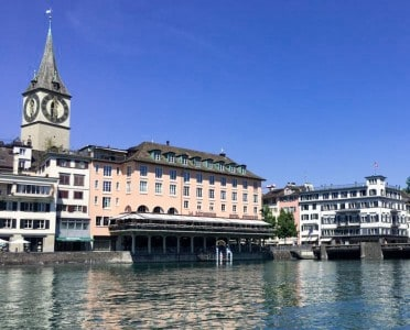 The Limmat river with the Hotel Storchen.