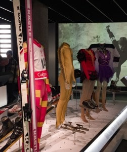 One of the displays in the Olympic Museum - ski outfits and skis
