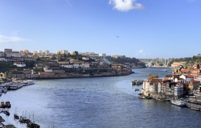 A view of the Duoro river from up high that you'll get on a Porto city break