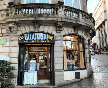 The outside of the Cafe Guarany in Porto.  We recommend a visit on a Porto city break