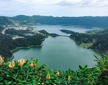 A view of the Caldeira das Setes Cicades crater/lakes on Sao Miguel island in the Azores - this is a must on one of the your Europe trips 2021
