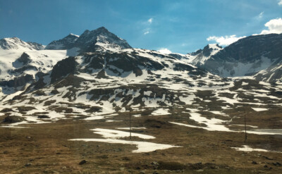 Part of the barren landscape that the Bernina Express train route travels through.  You can see patches of snow remaining.