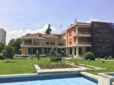 A view of Enver Hoxher's villa in Tirana, Albania.  This is set inside manicured gardens.