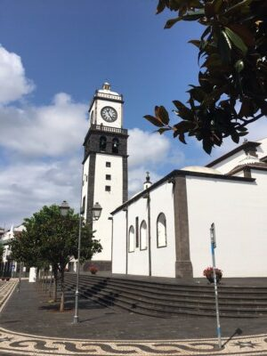 A church in black and white in the centre of Ponta Delgada on Sao Miguel island in the Azores
