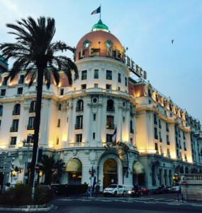 The outside of the grand Negresco hotel in Nice France