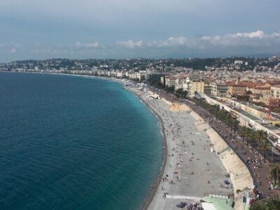 A view of the sweeping beach and bay in Nice, France