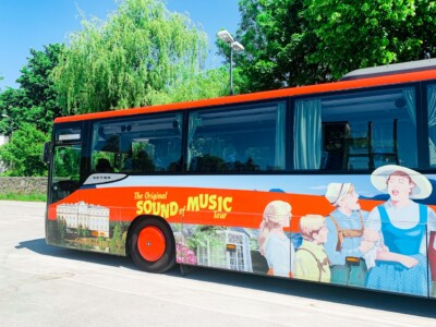 A picture of the Sound of Music tour bus that we rode on during our trip in Salzburg, Albania.