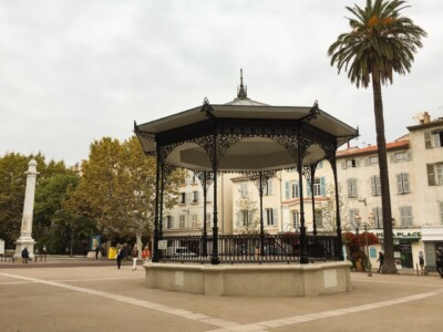 The bandstand in the square in Antibes, France.
