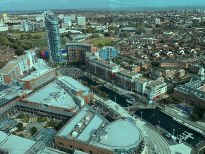 Part of the east view from the Spinnaker Tower, looking down over Gunwharf Quays