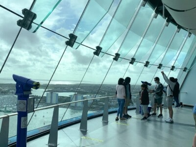 Inside the Spinnaker Tower with its viewing platform and large glass windows