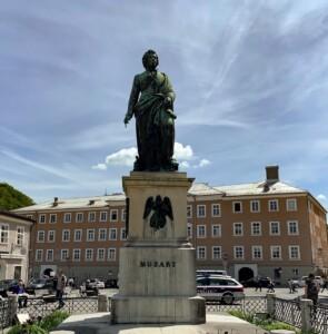 Mozart's statue in Salzburg Austria