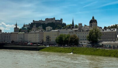 A view of the fortress in Salzburg from the river.