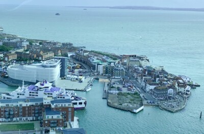 A view out across the sea from the Spinnaker Tower, a landmark you can see on a train trip from London by train.